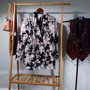 Floral Cotton Black Pastel Blazer / Jacket Size M
